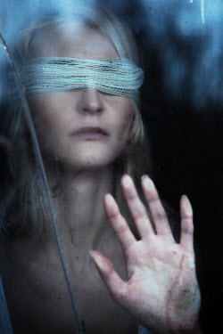 Magdalena Russocka blindfolded woman behind dirty glass Women