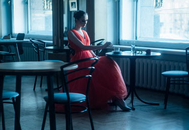 Maria Yakimova SAD WOMAN IN RESTAURANT ALONE Women