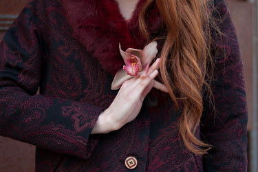 Monia Merlo WOMAN WITH RED HAIR HOLDING ORCHID Women