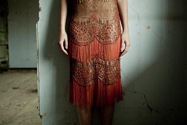 Monia Merlo RETRO WOMAN IN BEADED DRESS INDOORS Women