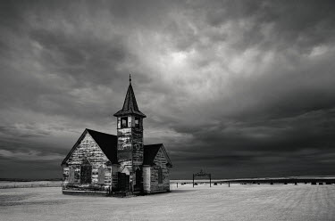 Rodney Harvey ISOLATED WOODEN CHURCH IN FIELD Religious Buildings