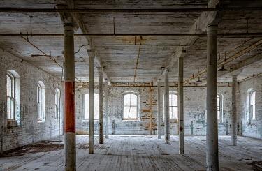 Rodney Harvey ABANDONED HALL WITH METAL PILLARS Interiors/Rooms