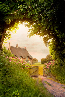 Lee Avison rustic wooden gate leading to an idyllic english thatched cottage Houses
