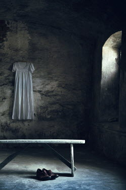 Magdalena Russocka empty derelict room with white dress and man's shoes