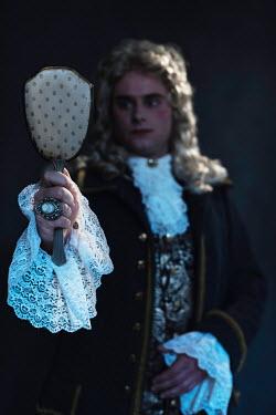 Ysbrand Cosijn HISTORICAL MAN LOOKING AT HAND MIRROR Men