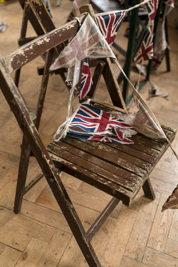Colin Hutton FLAGS LYING ON OLD WOODEN CHAIRS Miscellaneous Objects