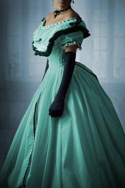 Ildiko Neer Victorian woman in green ball gown