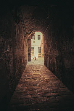 Nic Skerten EMPTY STONE PASSAGEWAY WITH HOUSE Streets/Alleys