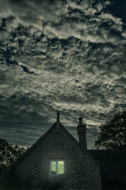 Nic Skerten BEDROOM LIGHT IN OLD HOUSE WITH NIGHT SKY Houses