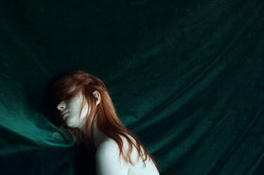 Daria Amaranth RED HAIRED WOMAN SLEEPING ON GREEN SHEETS Women