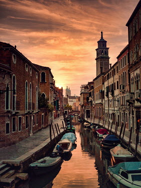 Elisabeth Ansley VENETIAN CANAL WITH MOORED BOATS Miscellaneous Cities/Towns