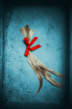 Ildiko Neer Close up of plait with red bow