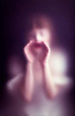 Ebru Sidar BLURRED WOMAN SHOUTING BEHIND GLASS Women