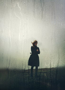 Mark Owen UPSET WOMAN SEEN FROM RAINY WINDOW Women