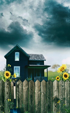 Sandra Cunningham HOUSE WITH FENCE AND SUNFLOWERS Houses