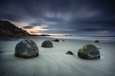 Evelina Kremsdorf LARGE BOULDERS ON SANDY BEACH Seascapes/Beaches