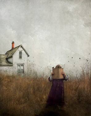 Jamie Heiden GIRL READING BOOK BY HOUSE IN COUNTRYSIDE Women