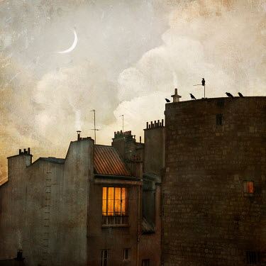 Jamie Heiden LIGHT IN WINDOW OF OLD BUILDING AT DUSK Houses