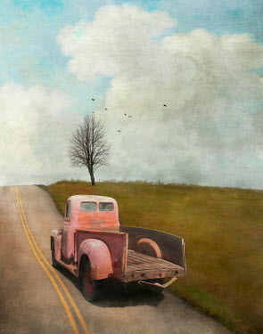 Jamie Heiden PINK RETRO TRUCK ON COUNTRY ROAD Miscellaneous Transport