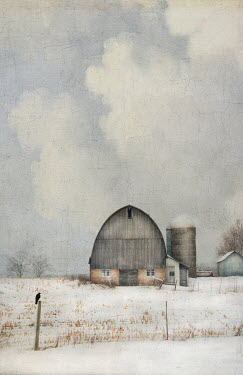 Jamie Heiden BARN WITH FARM BUILDINGS IN SNOW Miscellaneous Buildings