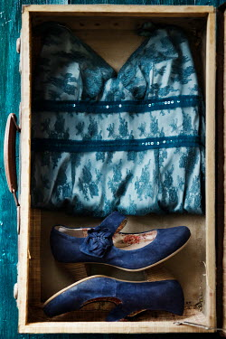 Maria Petkova vintage suitcase with blue dress and shoes Miscellaneous Objects