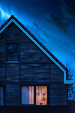 Ysbrand Cosijn LIGHT IN WOODEN HOUSE AT DUSK Houses