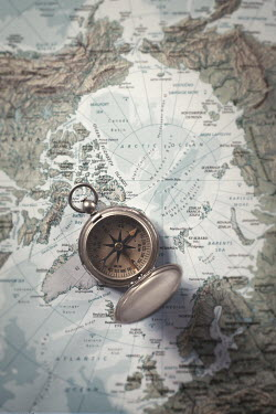 Robin Macmillan OLD COMPASS ON MAP FROM ABOVE Miscellaneous Objects