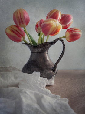 Jaroslaw Blaminsky TULIPS IN METAL JUG Flowers