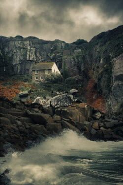 Nic Skerten OLD HOUSE ON CLIFFS BY SEA Houses