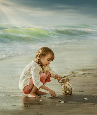 Lilia Alvarado LITTLE GIRL COLLECTING SHELLS ON BEACH Children