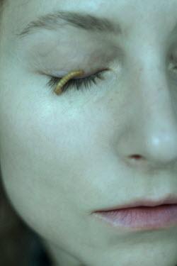 Daria Amaranth CLOSE UP OF MAGGOT ON FEMALE FACE Women