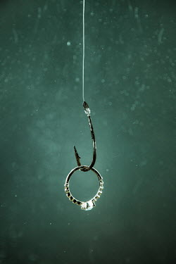 Magdalena Russocka engagement ring on fish hook underwater Miscellaneous Objects