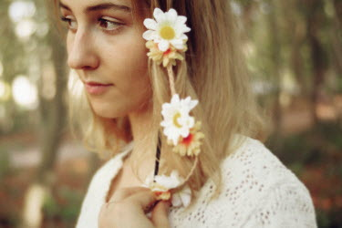 Remy Perthuisot BLONDE WOMAN WITH FLOWERS AND PLAIT OUTDOORS Women