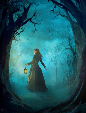 Drunaa Woman in forest at night with lantern