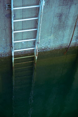 Miguel Sobreira LADDER ON WALL IN WATER Miscellaneous Water