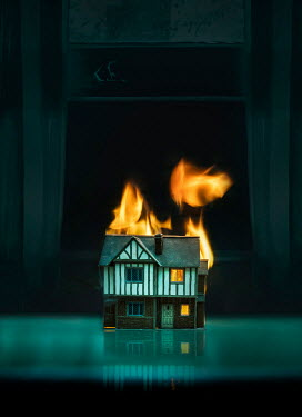 Stephen Mulcahey miniature house on fire indoors Miscellaneous Objects