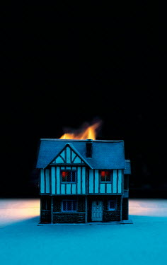 Stephen Mulcahey miniature house on fire at night Miscellaneous Objects