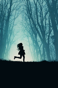 Magdalena Russocka modern woman running in misty woods