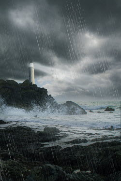 Victoria Davies LIGHTHOUSE DURING STORM Miscellaneous Buildings