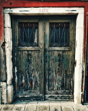 Elisabeth Ansley WEATHERED DOORS WITH WROUGHT IRON GRILLS Building Detail