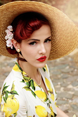 Jasenka Arbanas RETRO WOMAN IN HAT AND SUMMER DRESS Women