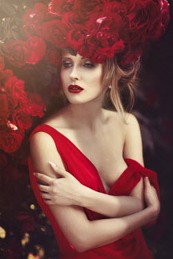 Beata Banach WOMAN IN RED DRESS WITH ROSES IN GARDEN Women
