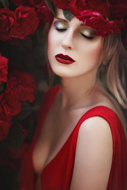 Beata Banach DREAMY WOMAN IN RED DRESS WITH ROSES OUTDOORS Women