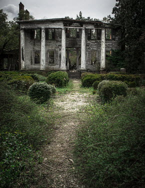 Rodney Harvey DECAYING OLD WHITE HOUSE WITH PILLARS Houses