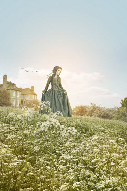 Victoria Davies HISTORICAL WOMAN IN FIELD BY HOUSE Women