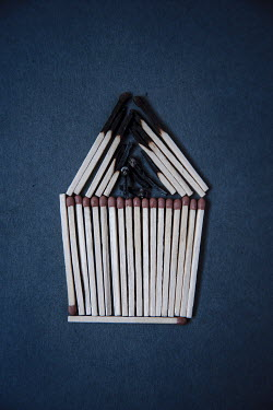 Rekha Garton BURNT AND UNBURNT MATCHES IN SHAPE OF HOUSE Miscellaneous Objects