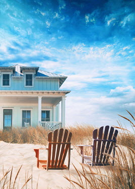 Sandra Cunningham HOUSE WITH CHAIRS ON SAND DUNES IN SUMMER Houses