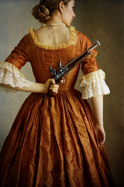 Lee Avison HISTORICAL WOMAN WITH PISTOL BEHIND BACK Women