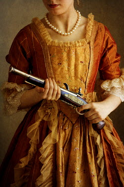 Lee Avison HISTORICAL WOMAN IN ORANGE DRESS HOLDING PISTOL Women