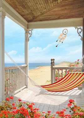 Sandra Cunningham HAMMOCK ON FRONT PORCH OF HOUSE BY THE SEA Building Detail